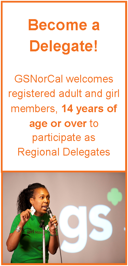 Become a delegate adults and girls 14 or over